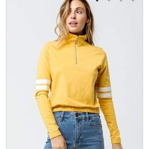 Full tilt yellow quarter zip stripe long sleeve
